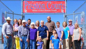 Tamie Preston and family at the dedication of Preston Courts.